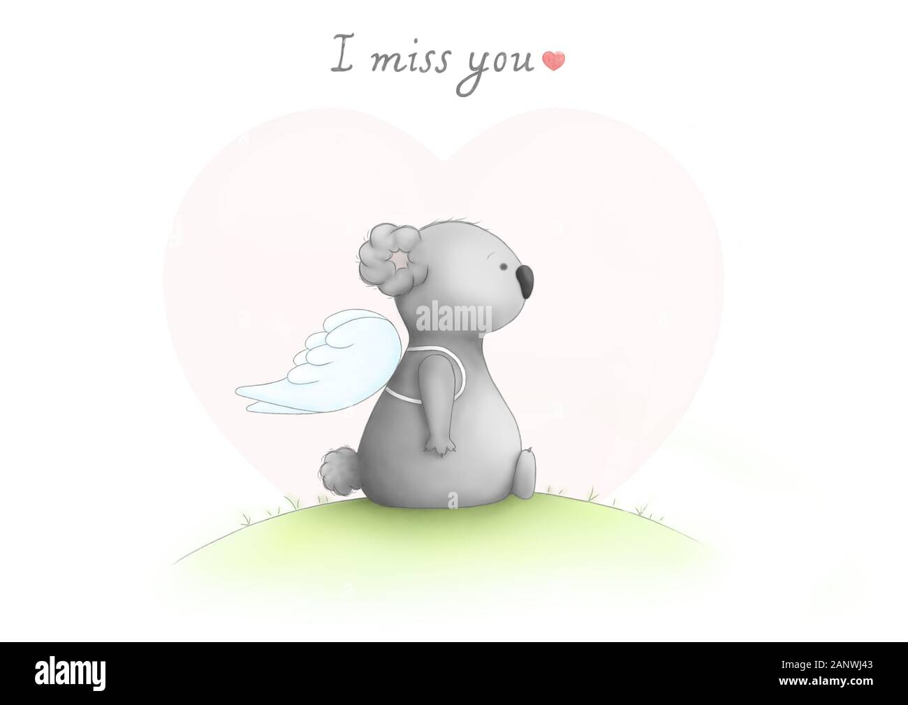 cute hand drawn sad koala bear drawing, sitting wearing angel wings, looking sad, with text I miss you, on white background Stock Photo