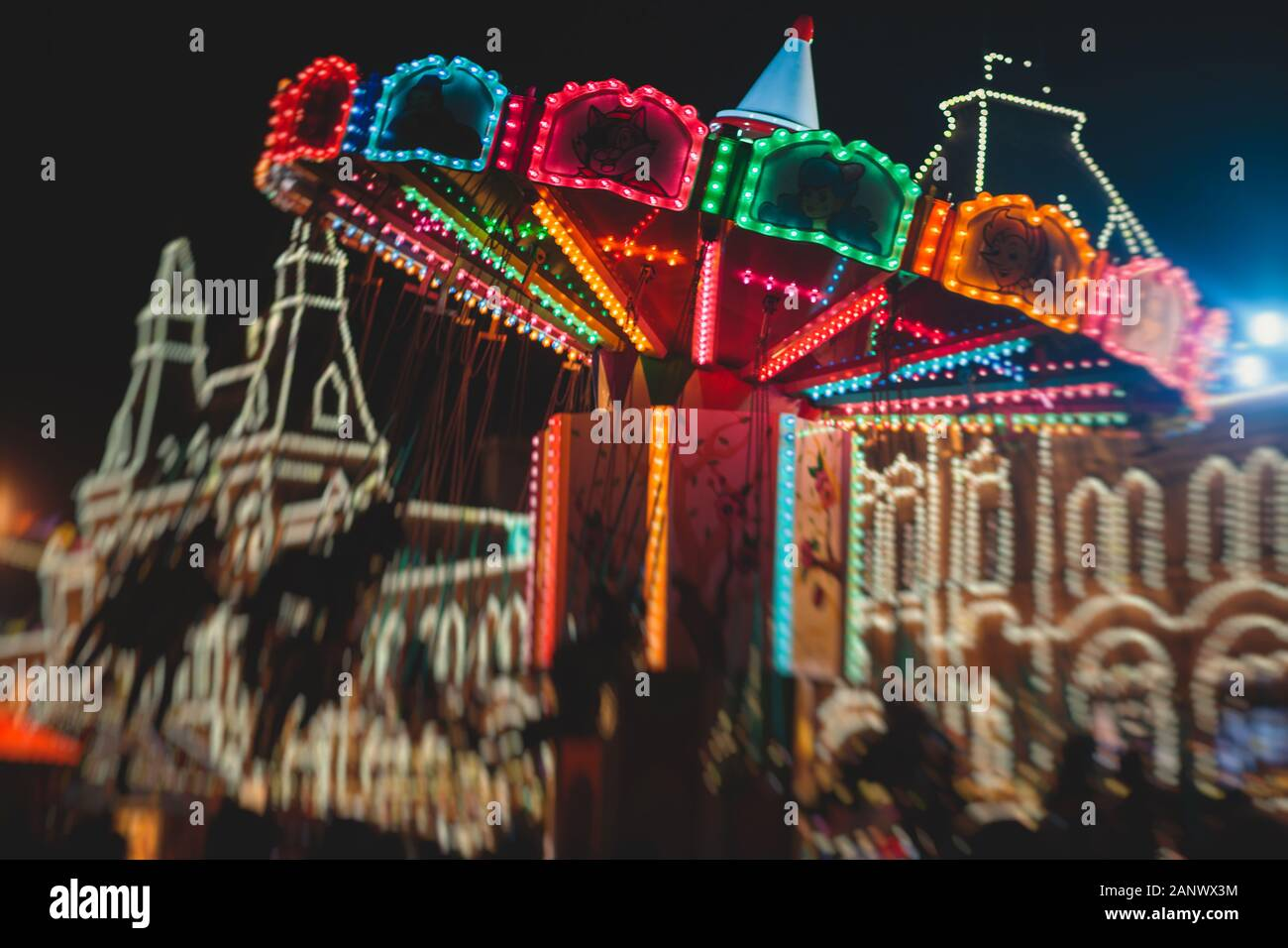 Moscow streets with New Year decoration, Christmas illumination on the Red Square, with Christmas market fair, with Saint Basil's Cathedral, Russia Stock Photo