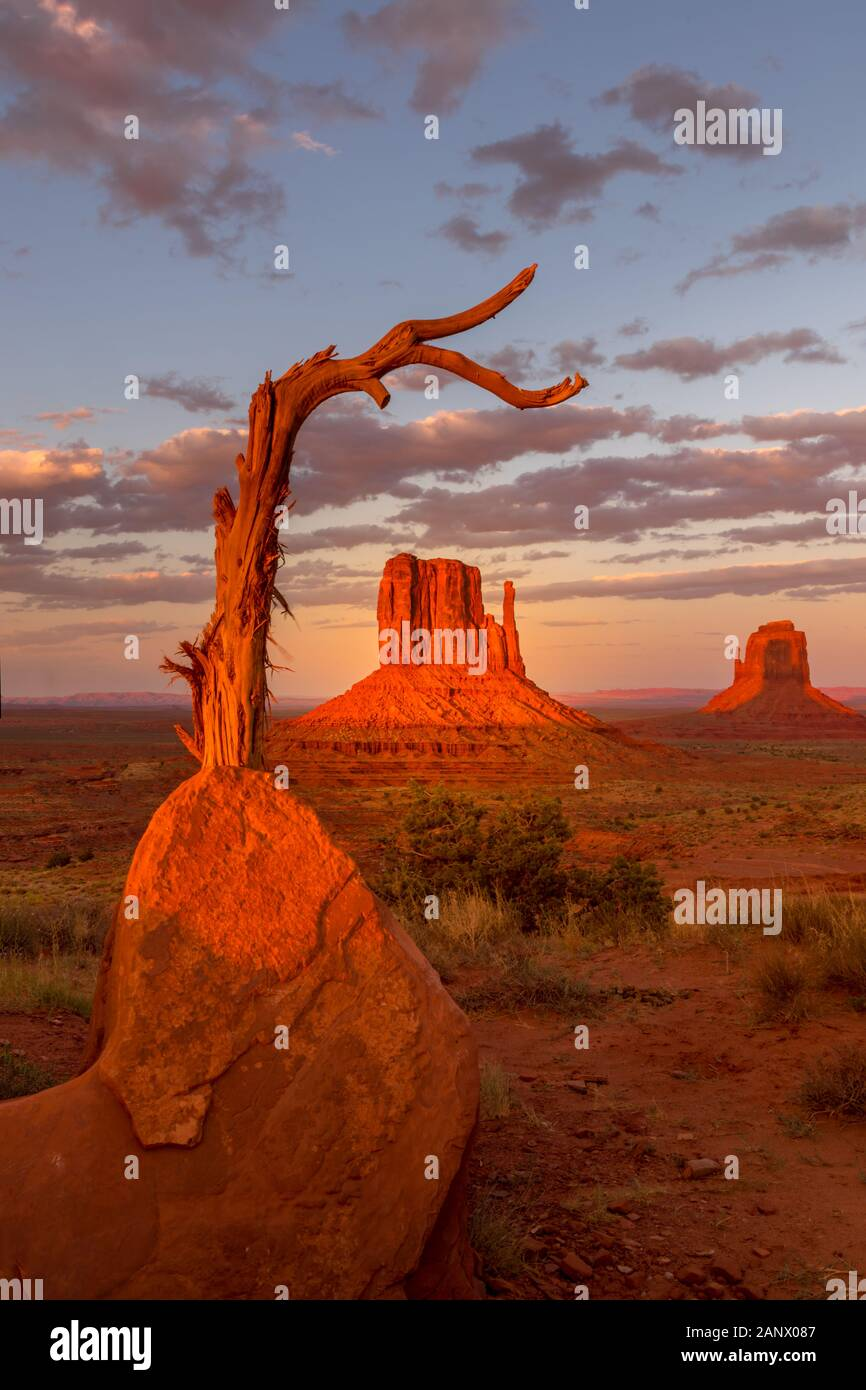 Monument Valley, twice a year the shadow is casted on middle butte. Rare spactacle Stock Photo