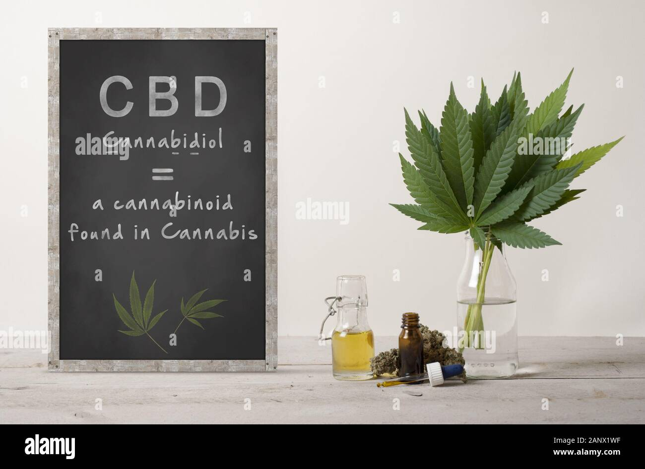 rustic blackboard with text cannabidiol and marujuana cannabis sativa weed leaves bouquet, flower bud and CBD oil in glass dropper bottle, on wooden c Stock Photo