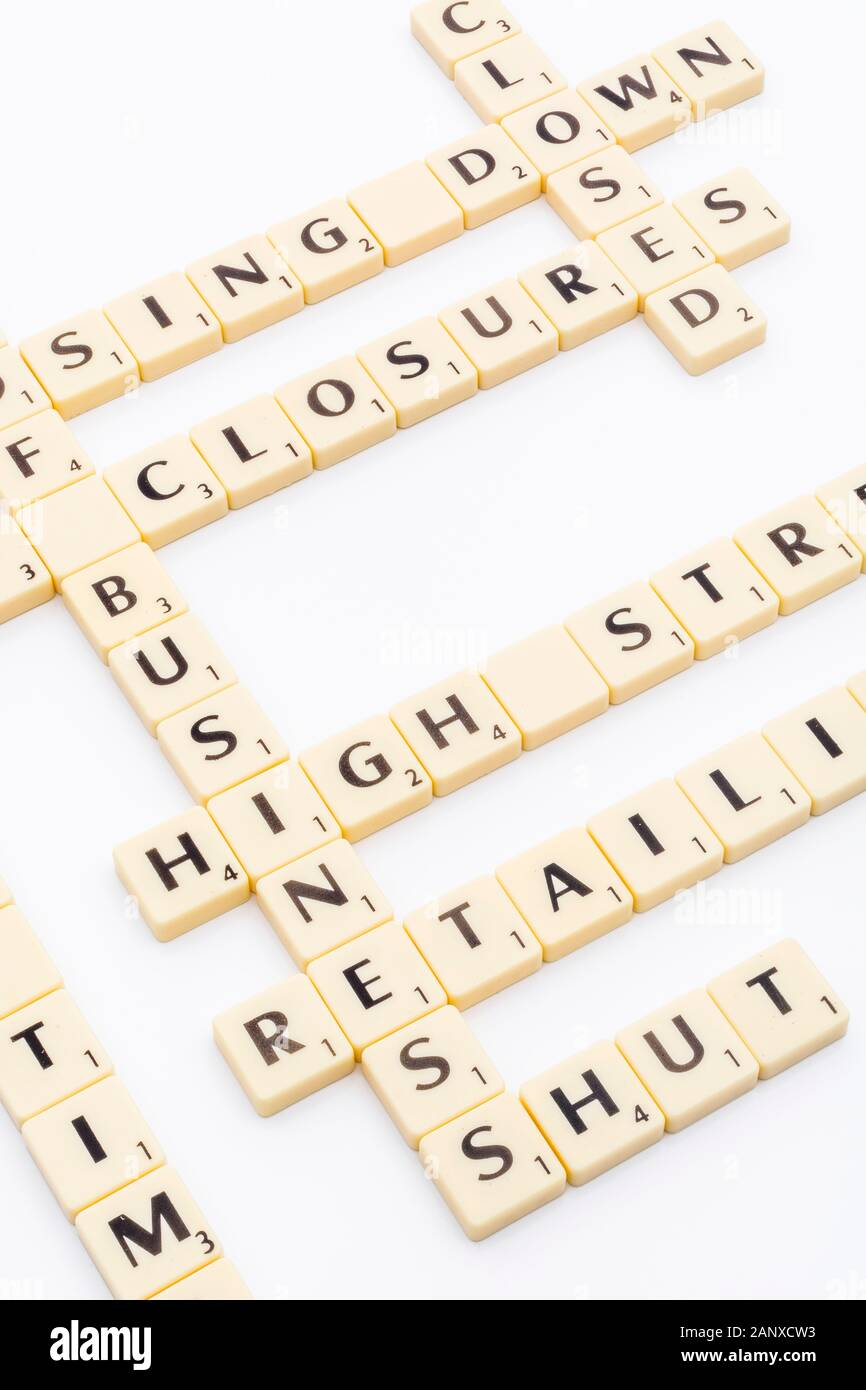 Concept of UK high street crisis / retail crisis in letter tiles / words. Closing down, shop closures, out of business, shops shut, retail closures. Stock Photo
