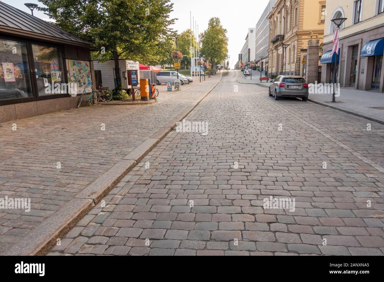 Raatihuoneenkatu Street in Hämeenlinna Finland Stock Photo