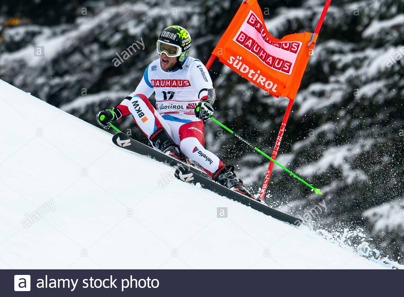 Alta Badia, Italy 22 December 2019.  MURISIER Justin (Sui) competing in the Audi Fis Alpine Skiing World Cup Men's Giant Slalom on the Gran Risa Cours Stock Photo