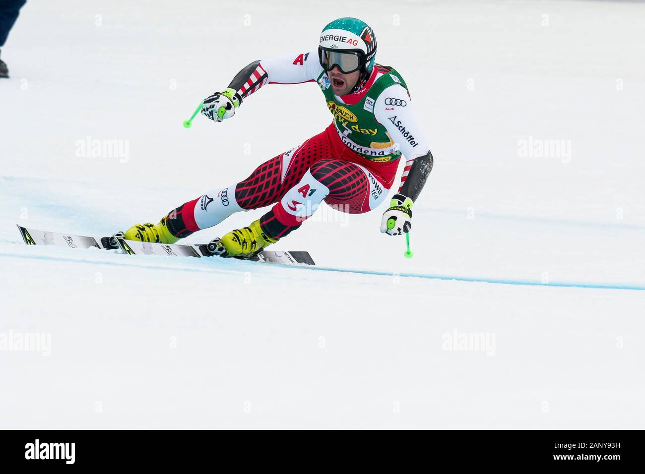 Val Gardena, Italy 20 December 2019. KRIECHMAYR Vincent during the pre race inspection of the Saslong course for the Audi FIS Alpine Ski World Cup Men Stock Photo