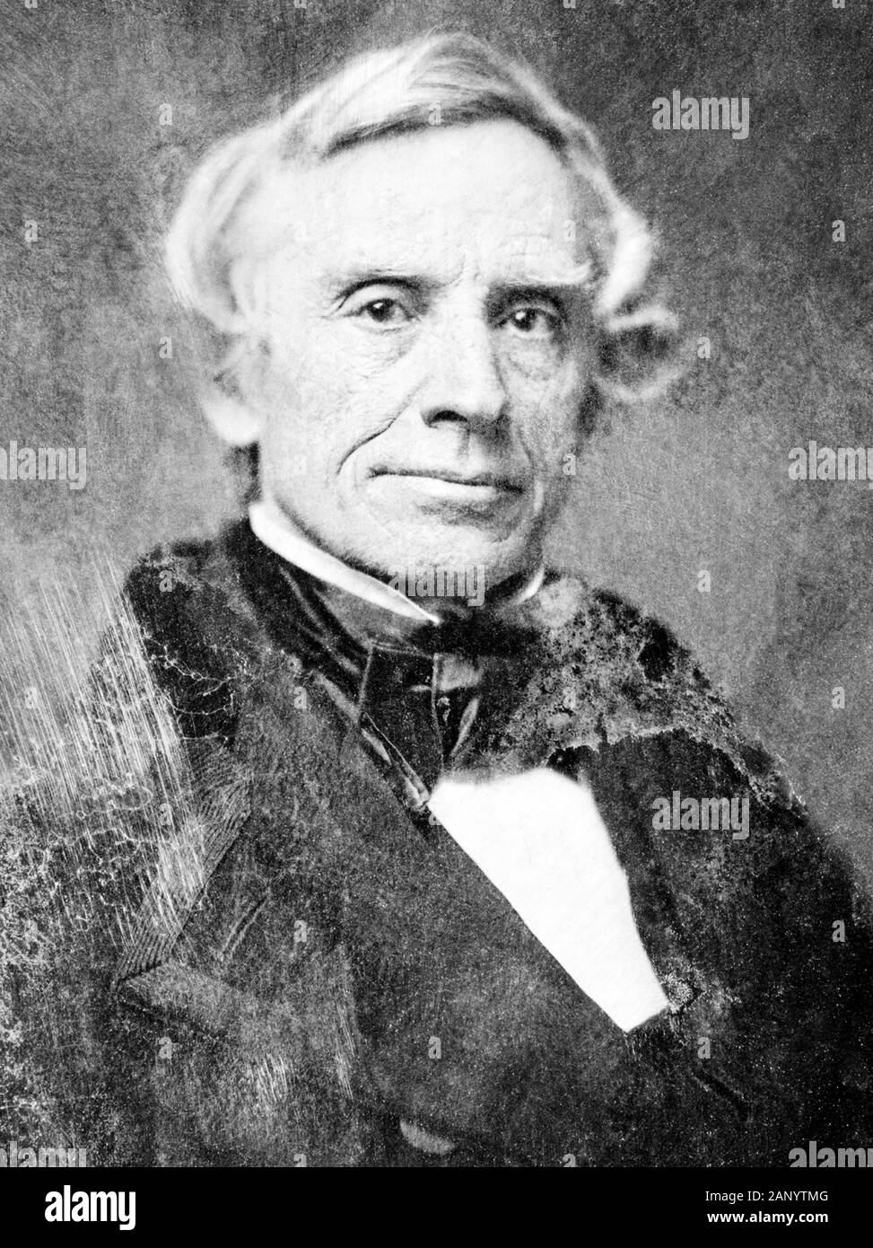 Vintage portrait photo of American painter and inventor Samuel F B Morse (1791 – 1872) – a pioneer in the development of the electric telegraph and co-creator of Morse Code. Photo circa 1850 by Mathew B Brady. Stock Photo