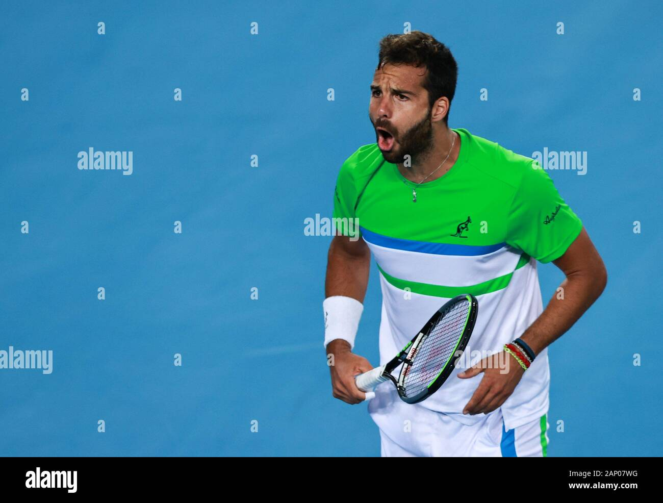 Melbourne, Australia. 20th Jan, 2020. Salvatore Caruso of Italy reacts  during the men's singles first round