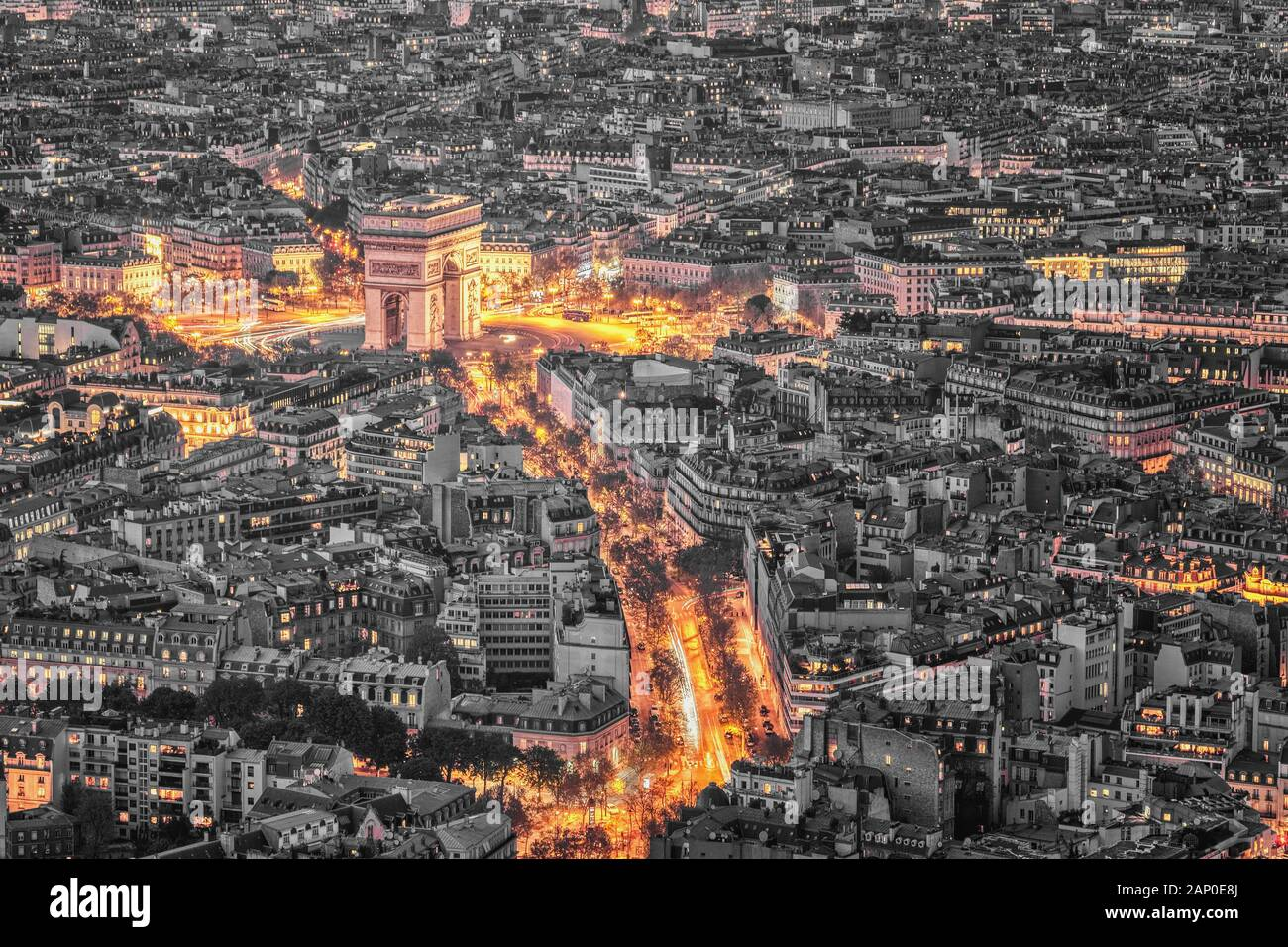 Paris, France - Seine river aerial view.Arc de Triomphe, Eiffel Tower, Champs Elysees and La Defense in the background. Stock Photo