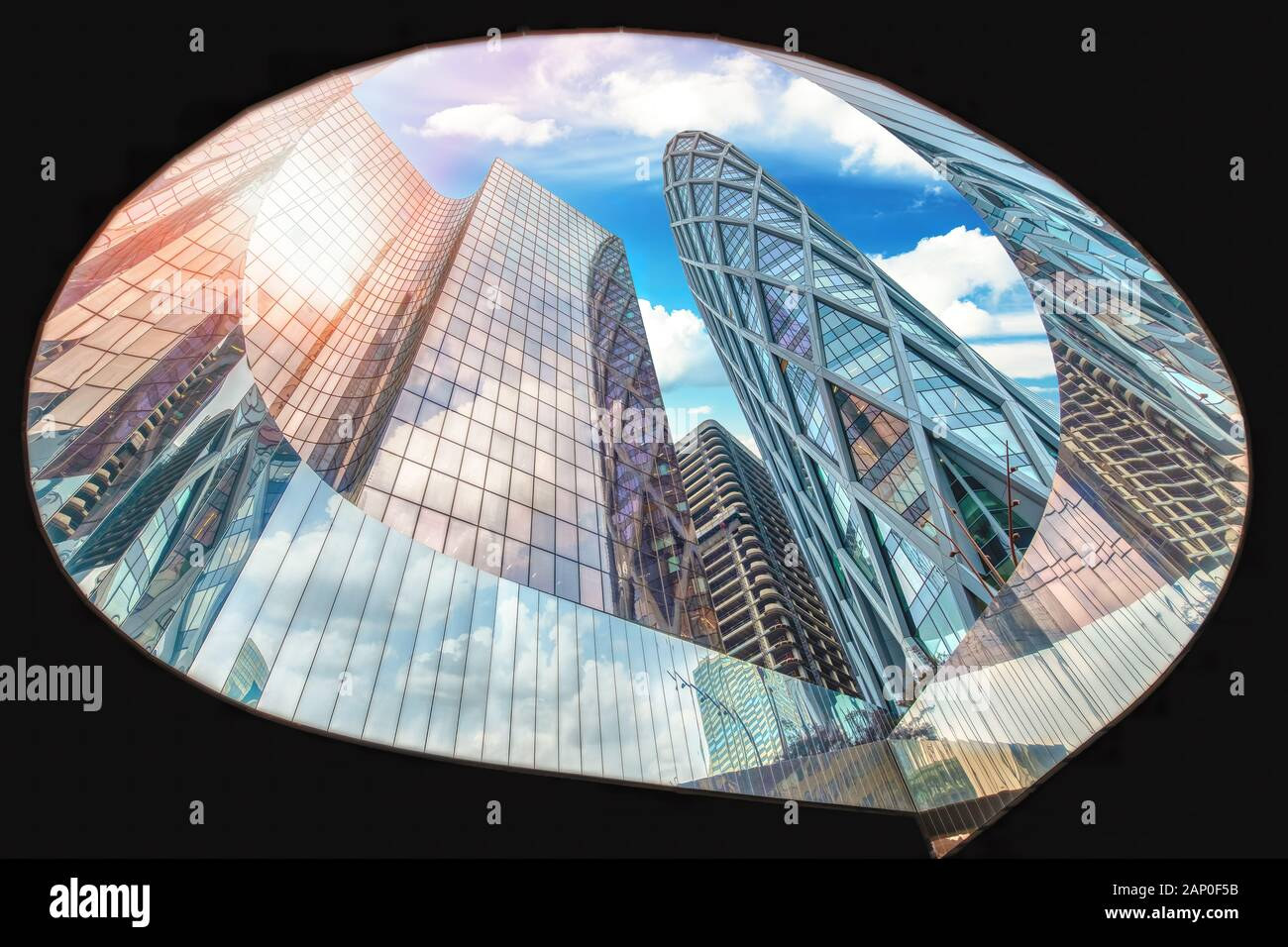 High resolution panoramic view of La Defense Business district in Paris, France Stock Photo
