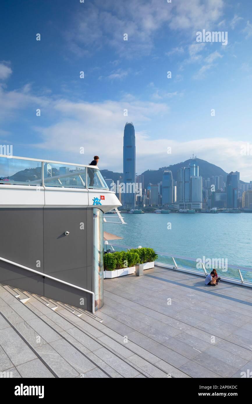 Hong Kong Island skyline from Ocean Terminal Deck, Kowloon, Hong Kong Stock Photo