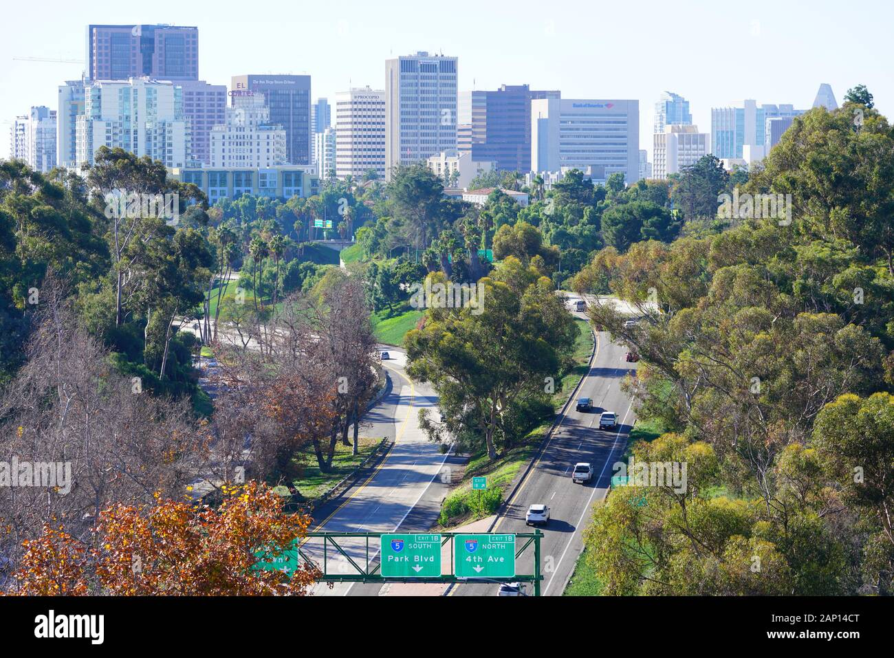 San Diego Ca 5 Jan 2020 View Of The Downtown San Diego Skyline Cityscape Seen From Balboa Park A Landmark Urban Park In San Diego California Stock Photo Alamy
