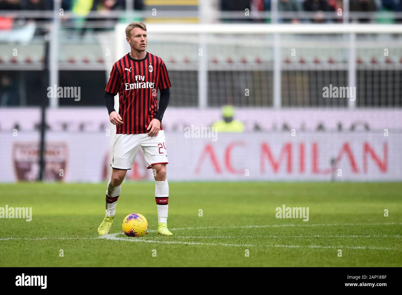 Milan Italy 19 January 2020 Simon Kjaer Of Ac Milan In Action During The Serie A