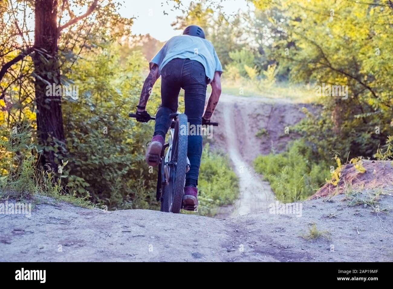 athlete, cyclist rides on a road in the forest. Cycling Stock Photo