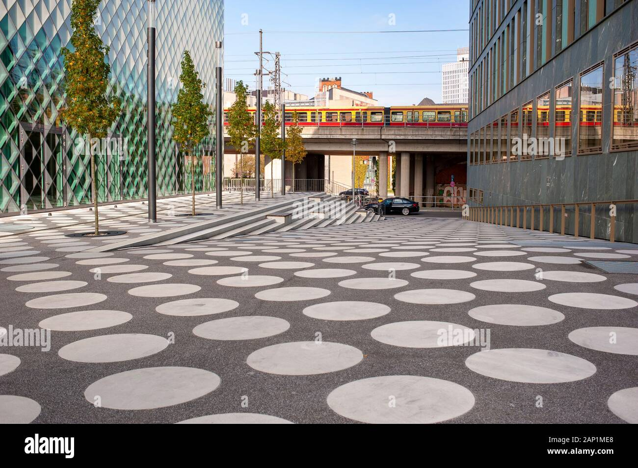 Futurium museum adjacent lane with train passing by. Berlin stock travel photographs. Stock Photo