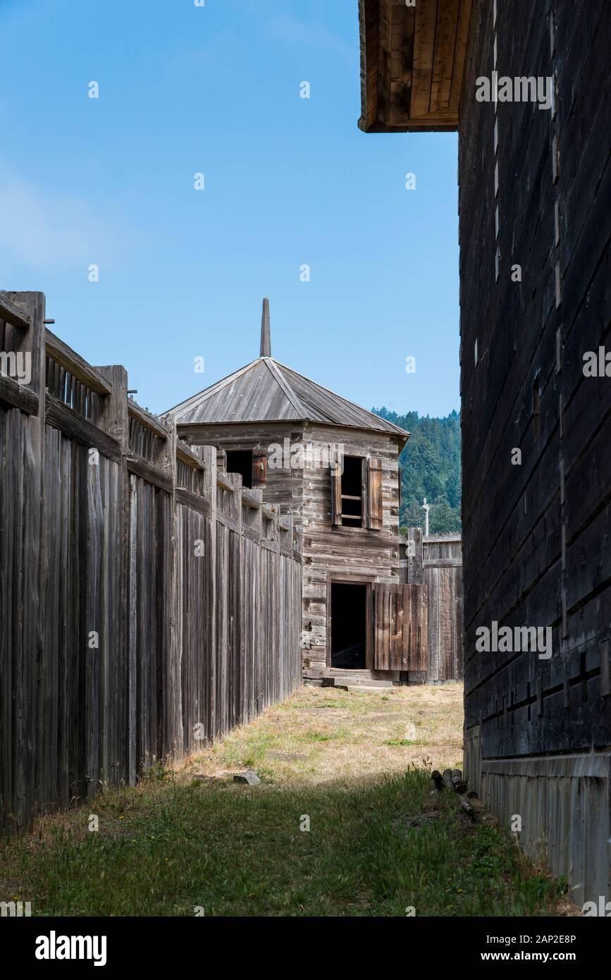 Wood wall and structures of Fort Ross State Historic Park on the Sonoma County coast of California Stock Photo