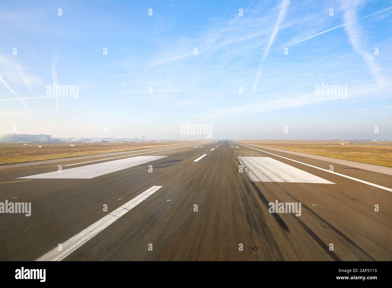 View of runway at Charles de Gaulle Airport, France Stock Photo