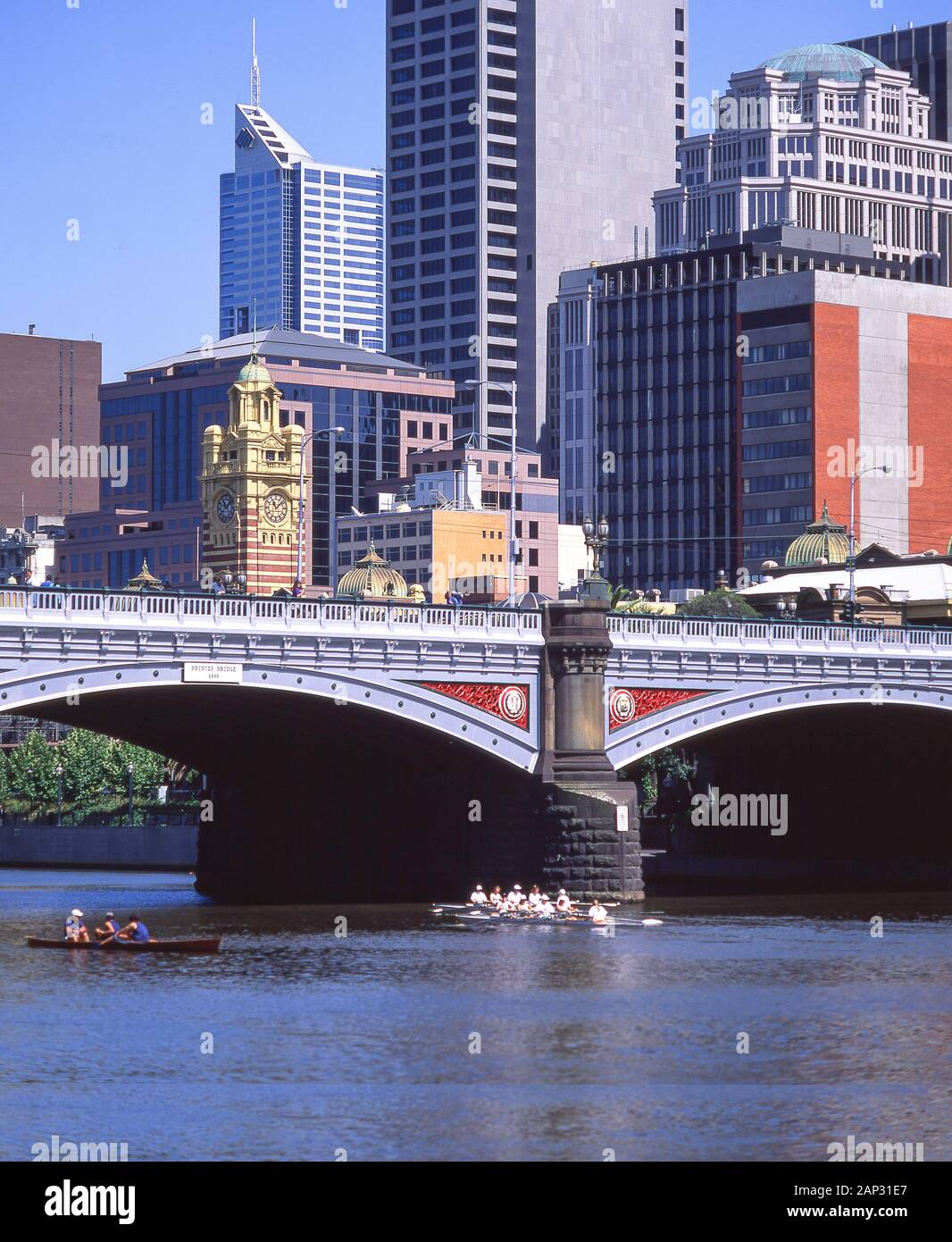 City and Princes Bridge across Yarra River, Melbourne, Victoria, Australia Stock Photo