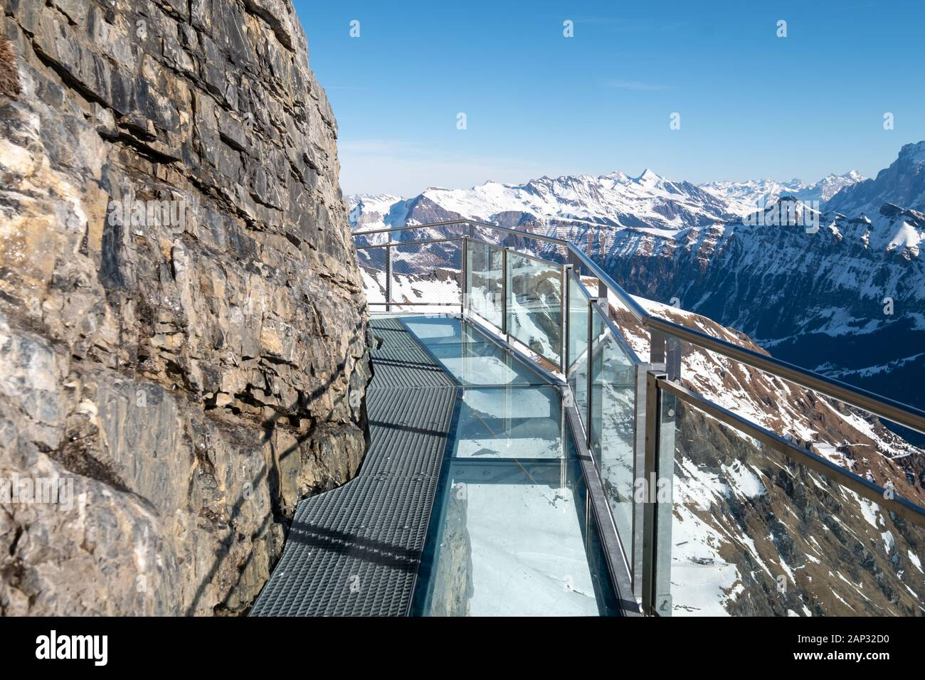 The Thrill Walk at Birg near Schiltorn in the Alps, Switzerland. It's a steel pathway  built into the cliffside with a vertical drop underneath. Stock Photo