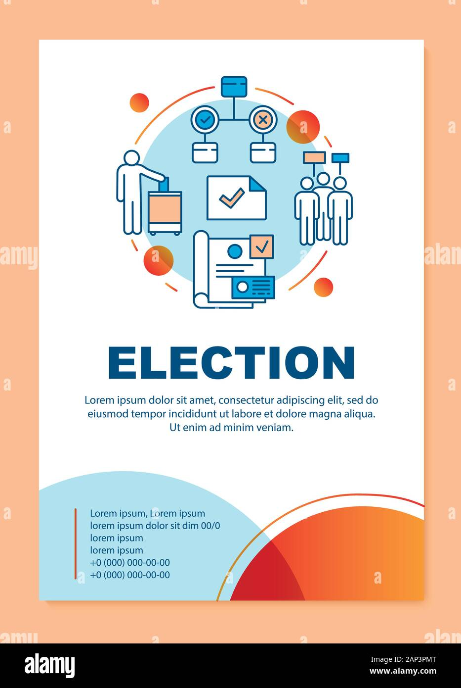 Election brochure template layout. Holding parliamentary voting. Flyer, booklet, leaflet print design with linear illustrations. Vector page layouts f Stock Vector