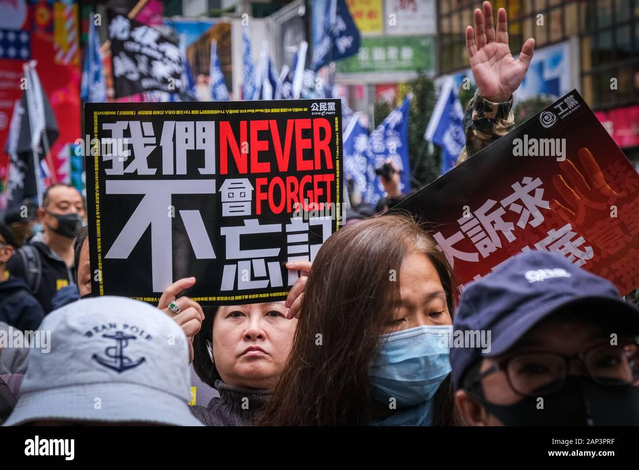HONG KONG, CHINA - JANUARY 1: Protest against government for new year day, in Hong Kong on January 1, 2020 in Hong Kong, China. Stock Photo