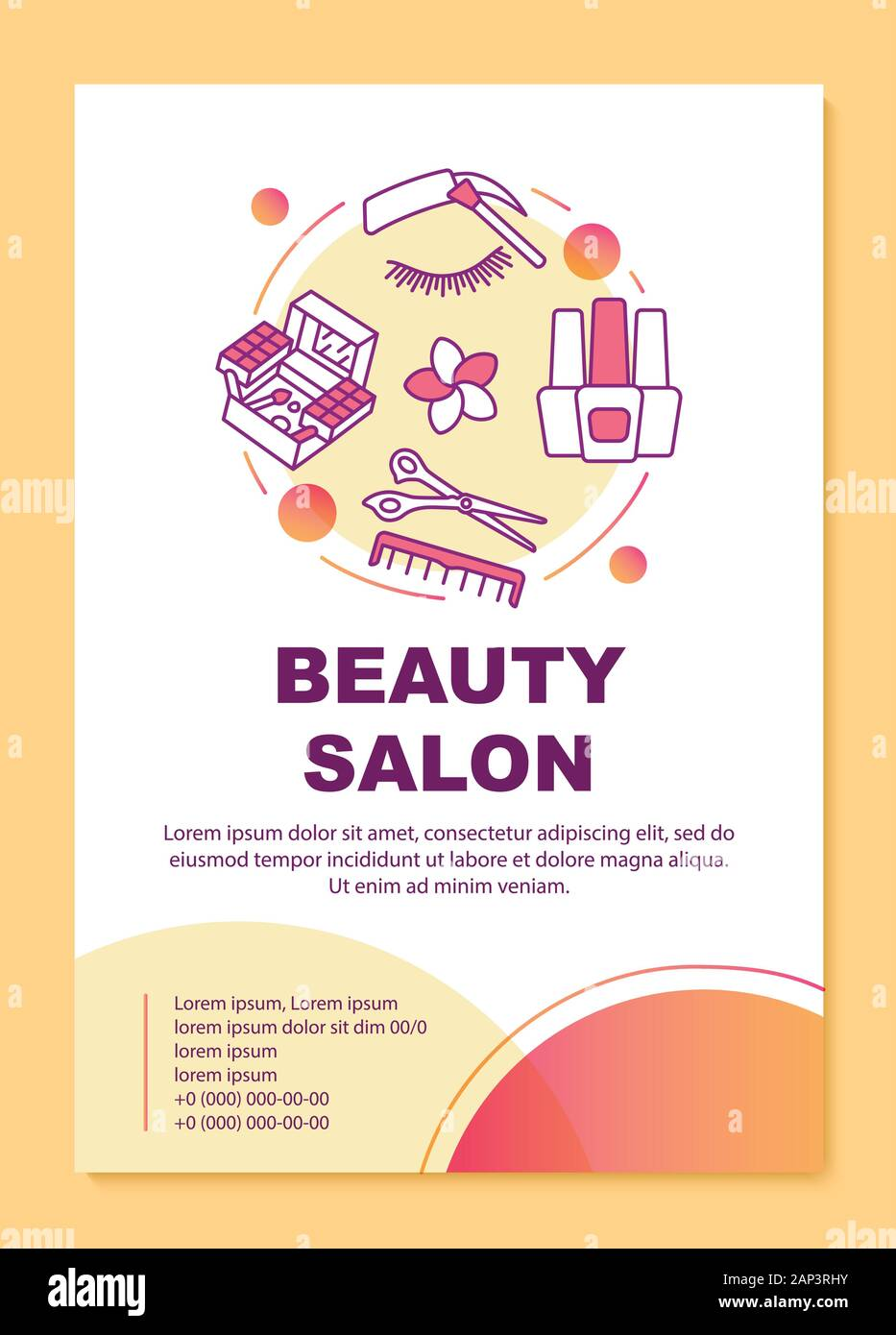 Beauty Salon Poster Template Layout Beautician Parlor Procedures Banner Booklet Leaflet Print Design With Linear Icons Vector Brochure Page Layou Stock Vector Image Art Alamy