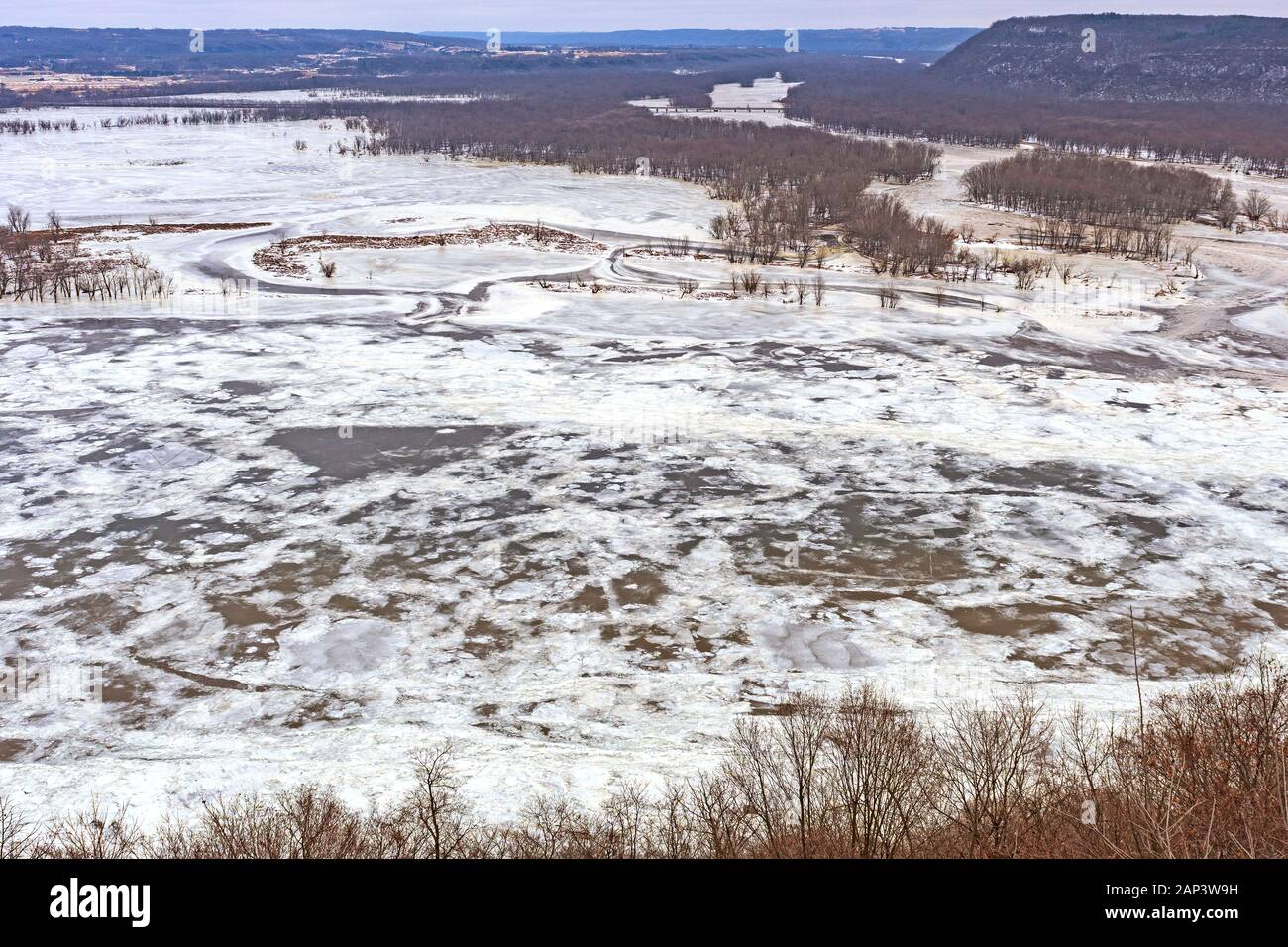 Frozen Confluence of the Wisconsin and Mississippi Rivers in Winter at Pikes Peak State Park in Iowa Stock Photo