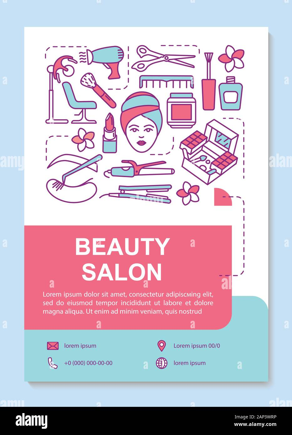 Beauty Salon Poster Template Layout Cosmetology Parlor And Spa Procedures Banner Booklet Leaflet Print Design With Linear Icons Vector Brochure P Stock Vector Image Art Alamy