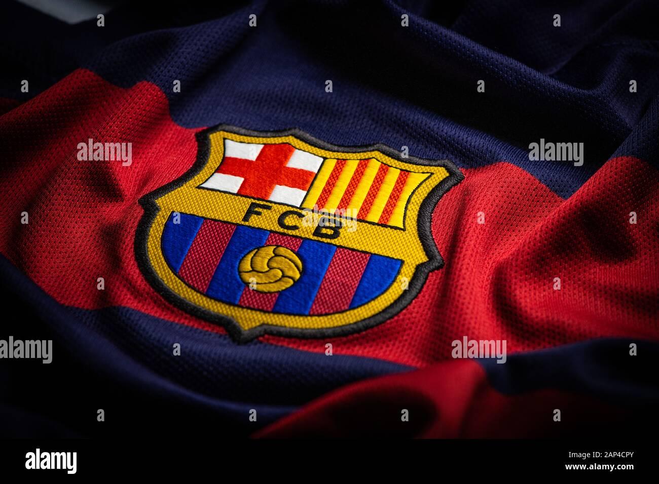 fc barcelona logo high resolution stock photography and images alamy https www alamy com france january 21 2020 fc barcelona spanish football club logo on jersey image340617283 html