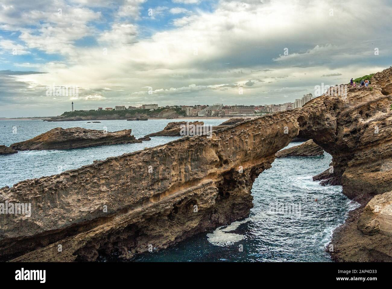 rock arch at the cliff of Biarritz Stock Photo