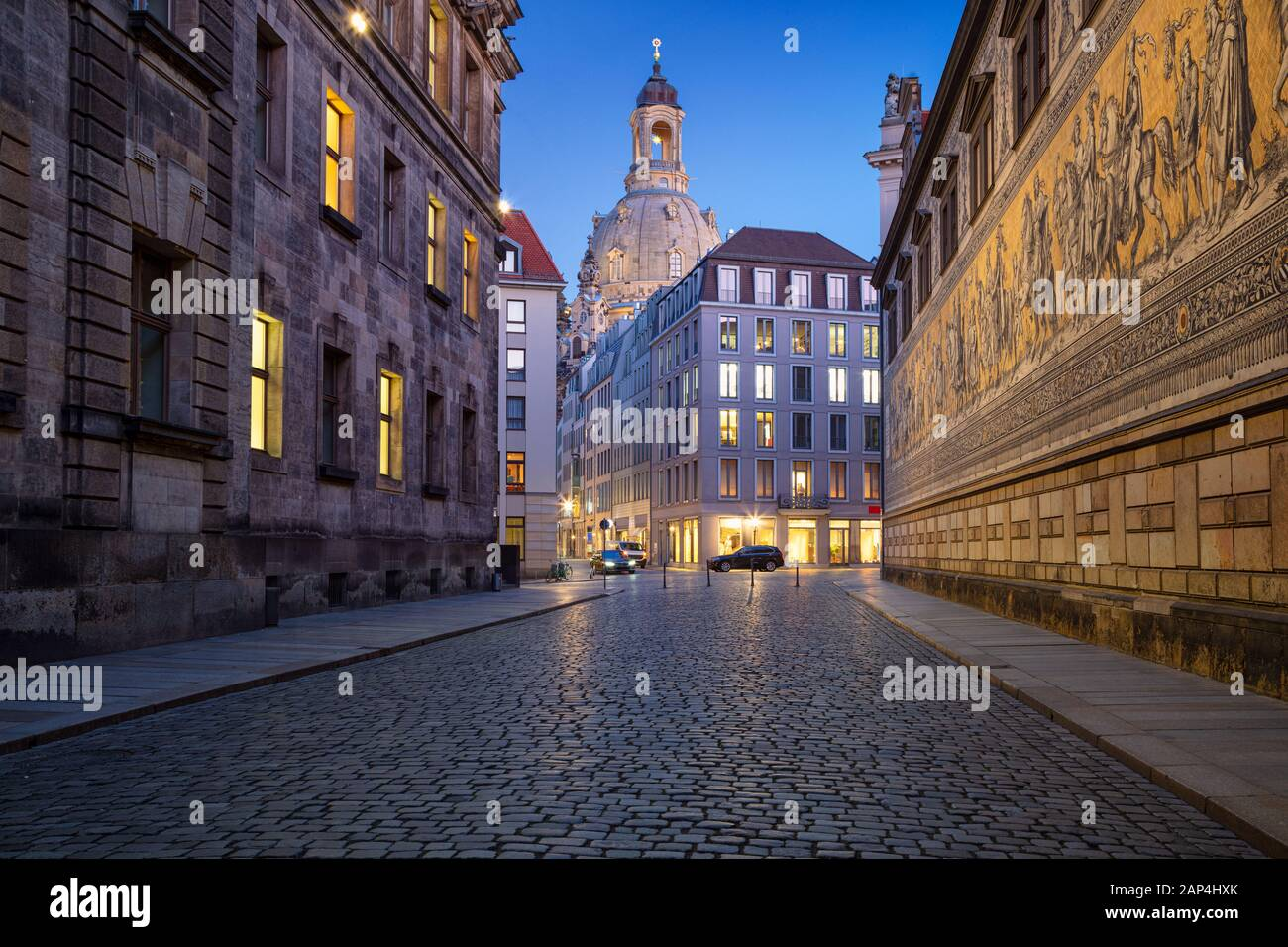 Dresden, Germany. Image of Dresden, Germany with the Dresden Frauenkirche during twilight blue hour. Stock Photo