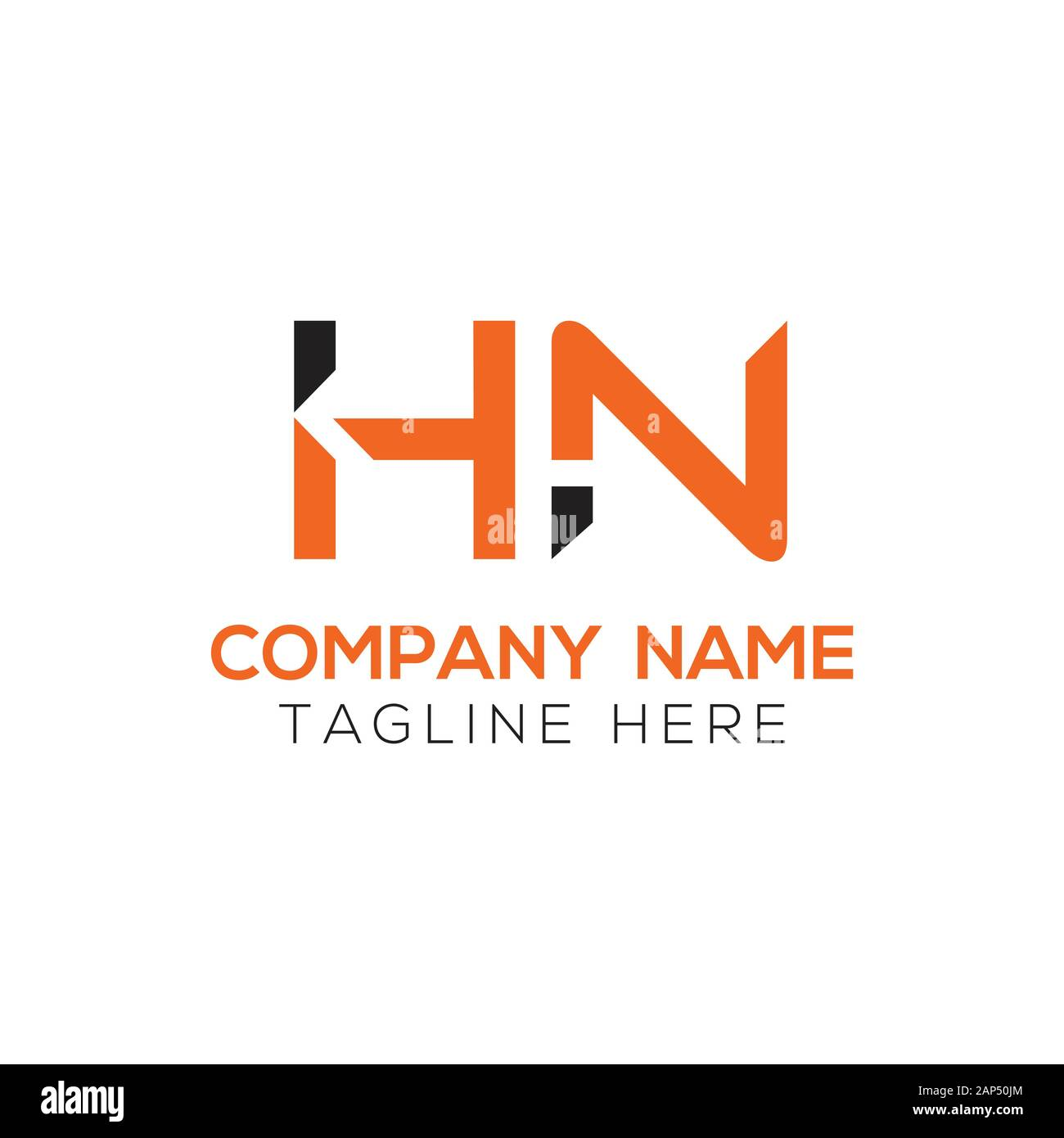 letter HN Logo Design Vector Template. Initial Linked Letter HN Vector Illustration Stock Vector