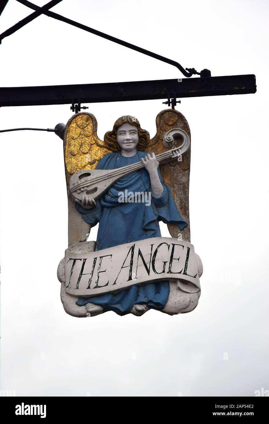 sign for the angel hotel, market square, lavenham, suffolk, england Stock Photo