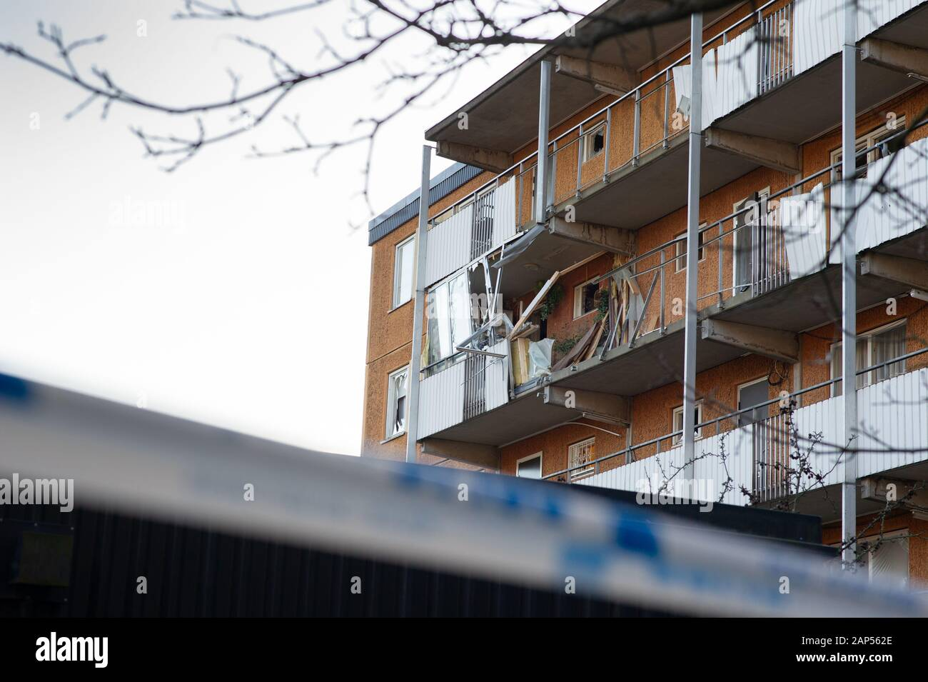 Bomb explosions in Stockholm about 50 people evacuated. Bomb / explosions detonated on two locations in Stockholm this night, in multi-family houses. The first one in Husby, Stockholm at 02:33, and the second in Kista, Stockholm at 02:47 according to the Stockholm Police. Extensive damage to several buildings and cars. Stock Photo