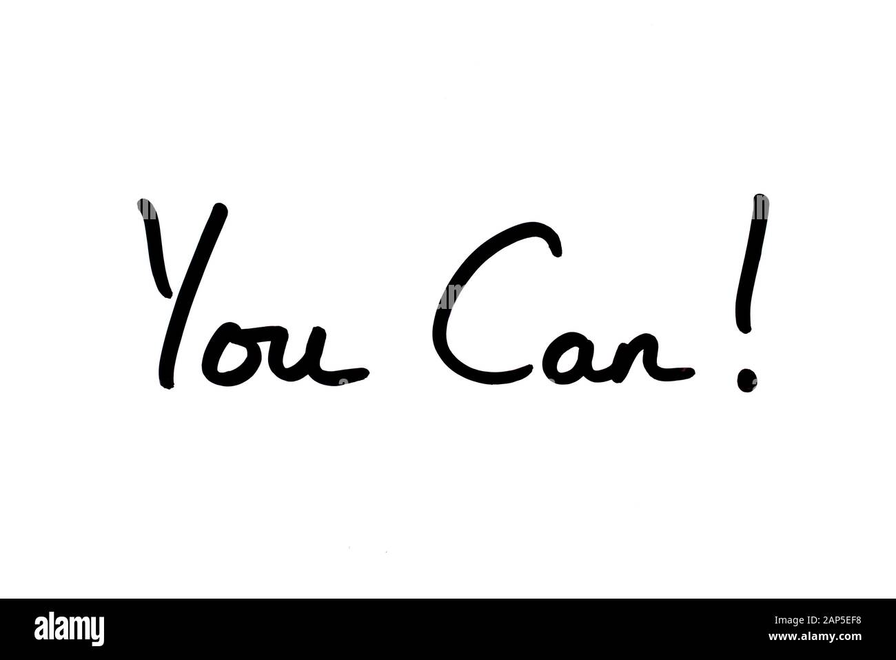 You Can! handwritten on a white background. Stock Photo
