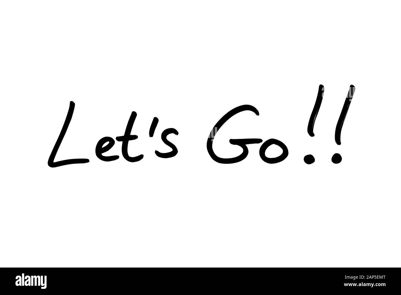 Lets Go! handwritten on a white background. Stock Photo