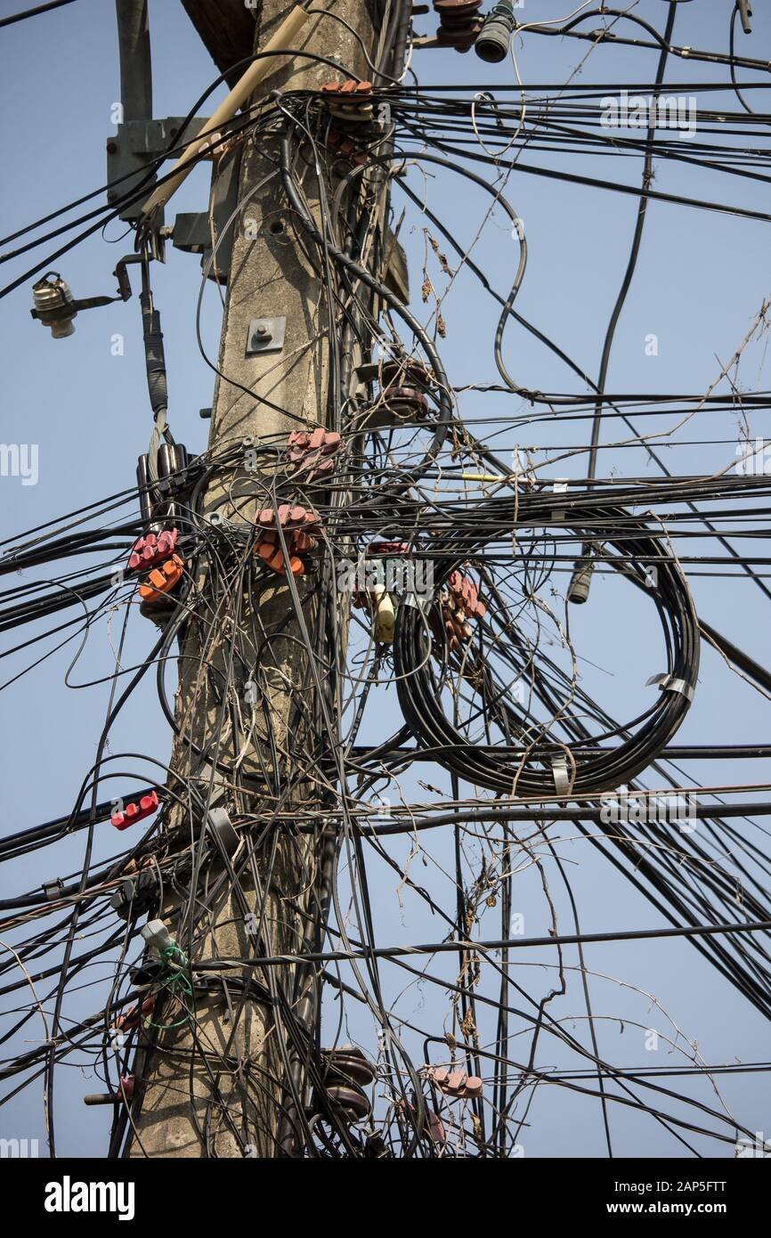 Messy Electric Wire And Cable Line Stock Photo Alamy