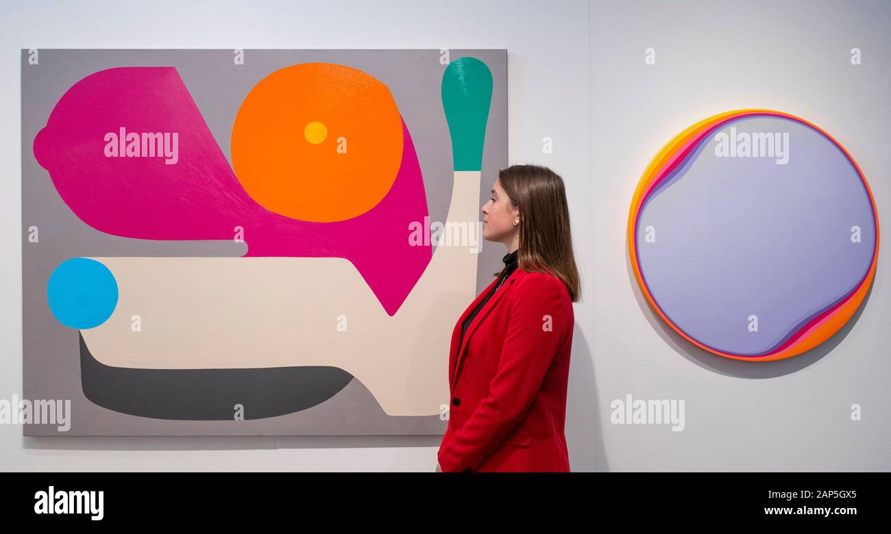 Business Design Centre, Islington, London, UK. 21st January 2020. London Art Fair showcases exceptional modern and contemporary art of our time, to discover and to buy. The Fair is an established destination for both museum quality modern and contemporary work, from prints and editions to major works by internationally renowned artists. Image: (Left) Stephen Ormandy, 'Guns Blazing', 2019; (Right) Jan Kalab, 'Moving Lila', 2019. Rhodes Contemporary. Credit: Malcolm Park/Alamy Live News. Stock Photo