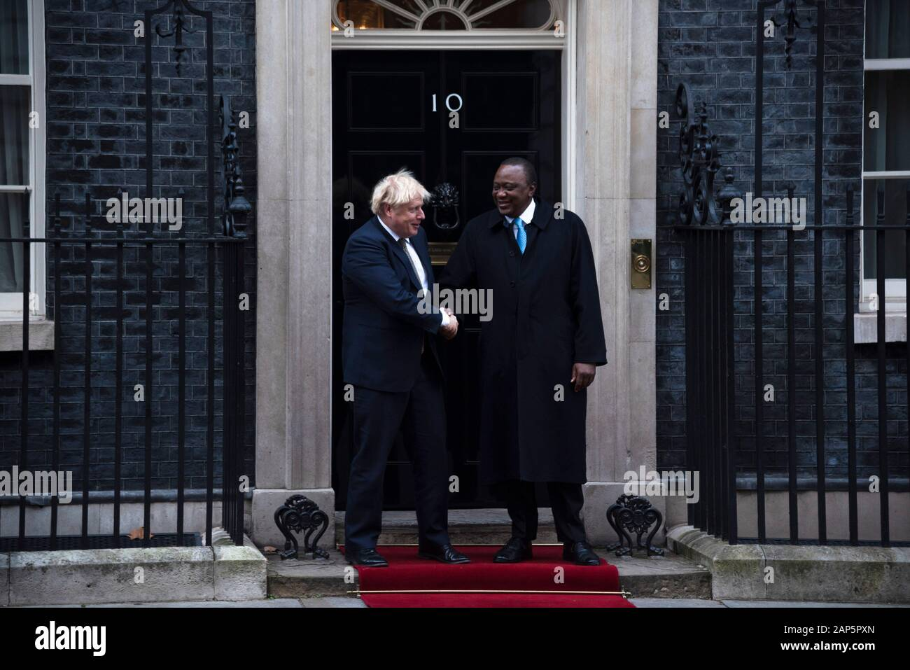 London, UK. 21st Jan, 2020. Prime Minister Boris Johnson greets President of Kenya Uhuru Kenyatta in Downing Street. Credit: claire doherty/Alamy Live News Stock Photo