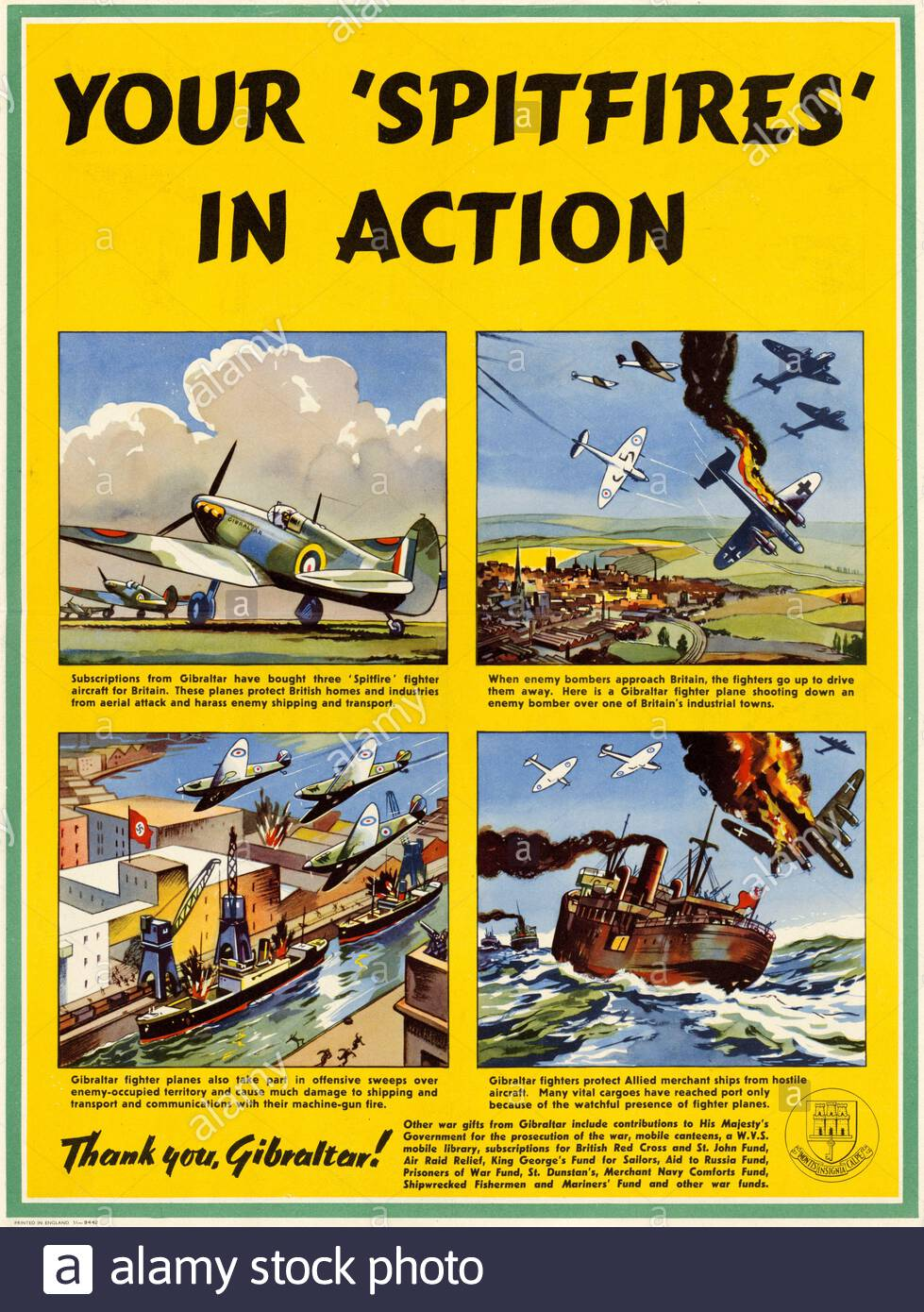 British WWii WW2 Military Poster When Its Up You 24x36
