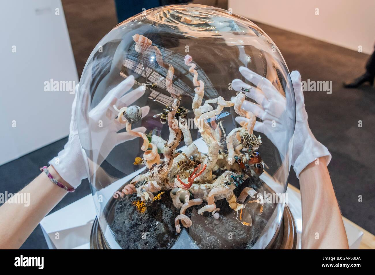 Islington, London, UK. 21st Jan, 2020. An Eruption by Tessa Farmer in the Bo-Lee gallery - - The London Art Fair, at the Business Design Centre in Islington. Includes international galleries selling modern and contemporary artworks. Credit: Guy Bell/Alamy Live News Stock Photo