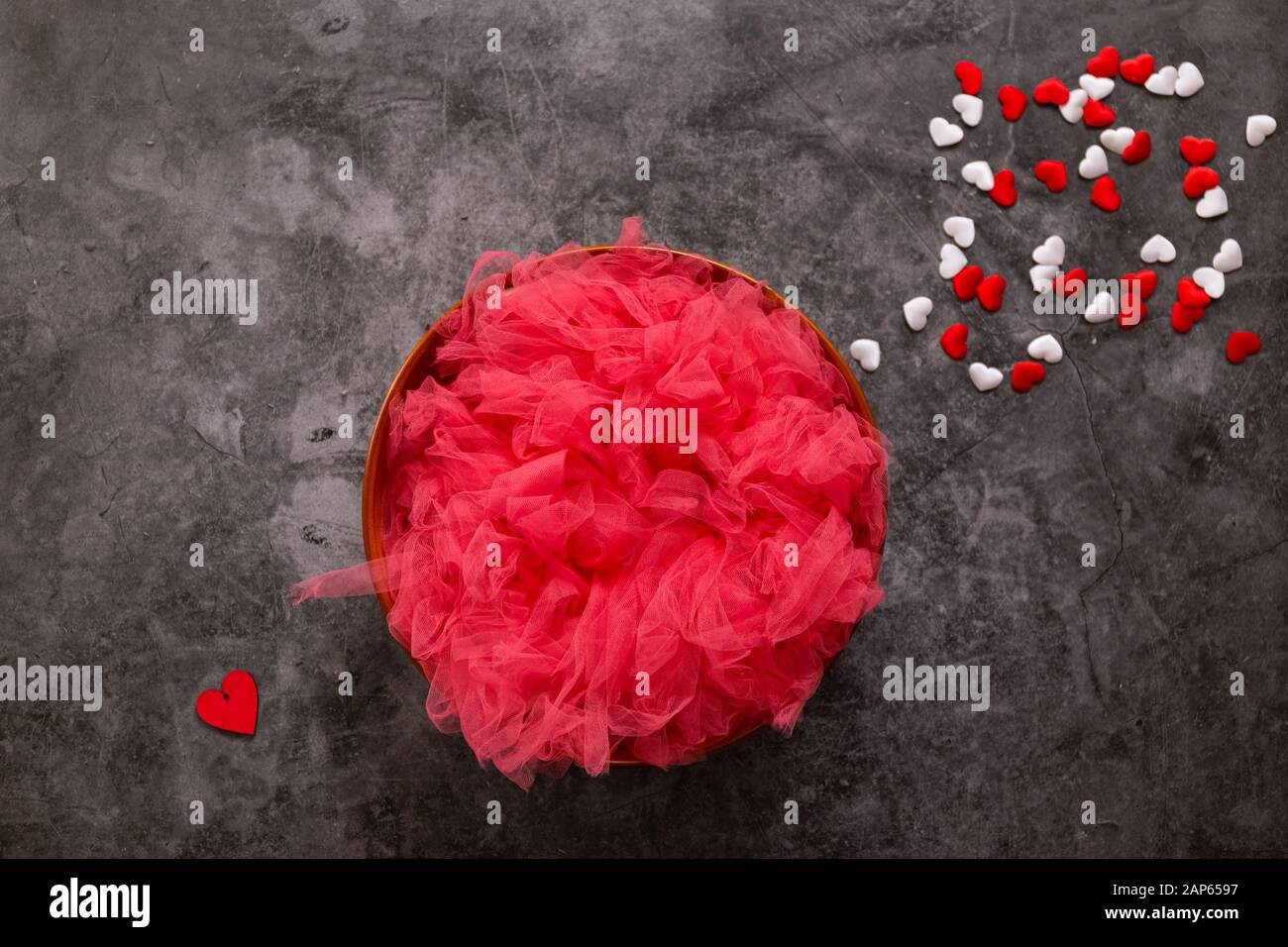 Newborn Photography Digital Background For A Valentine S Day Red And White Hearts And A Bowl Stock Photo Alamy