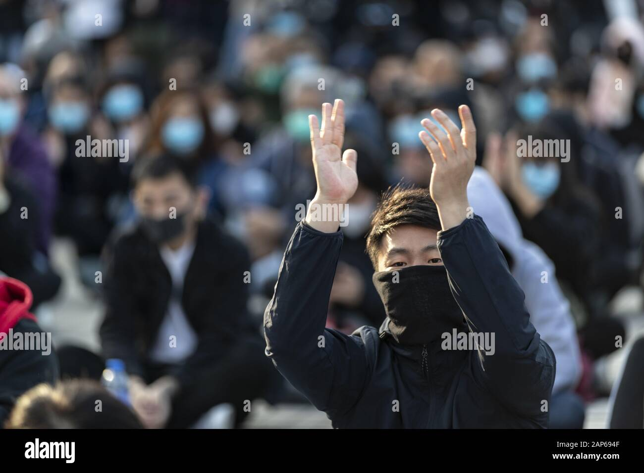 Hong Kong, China. 12th Jan, 2020. Pro-democracy demonstrator applauding the speakers during the assembly.The Hong Kong Civil Assembly Team organised a Sunday Assembly to make awareness and promote their coming march on Sunday January 19th, 2020 for Universal Siege on Communists. Credit: May James/SOPA Images/ZUMA Wire/Alamy Live News Stock Photo