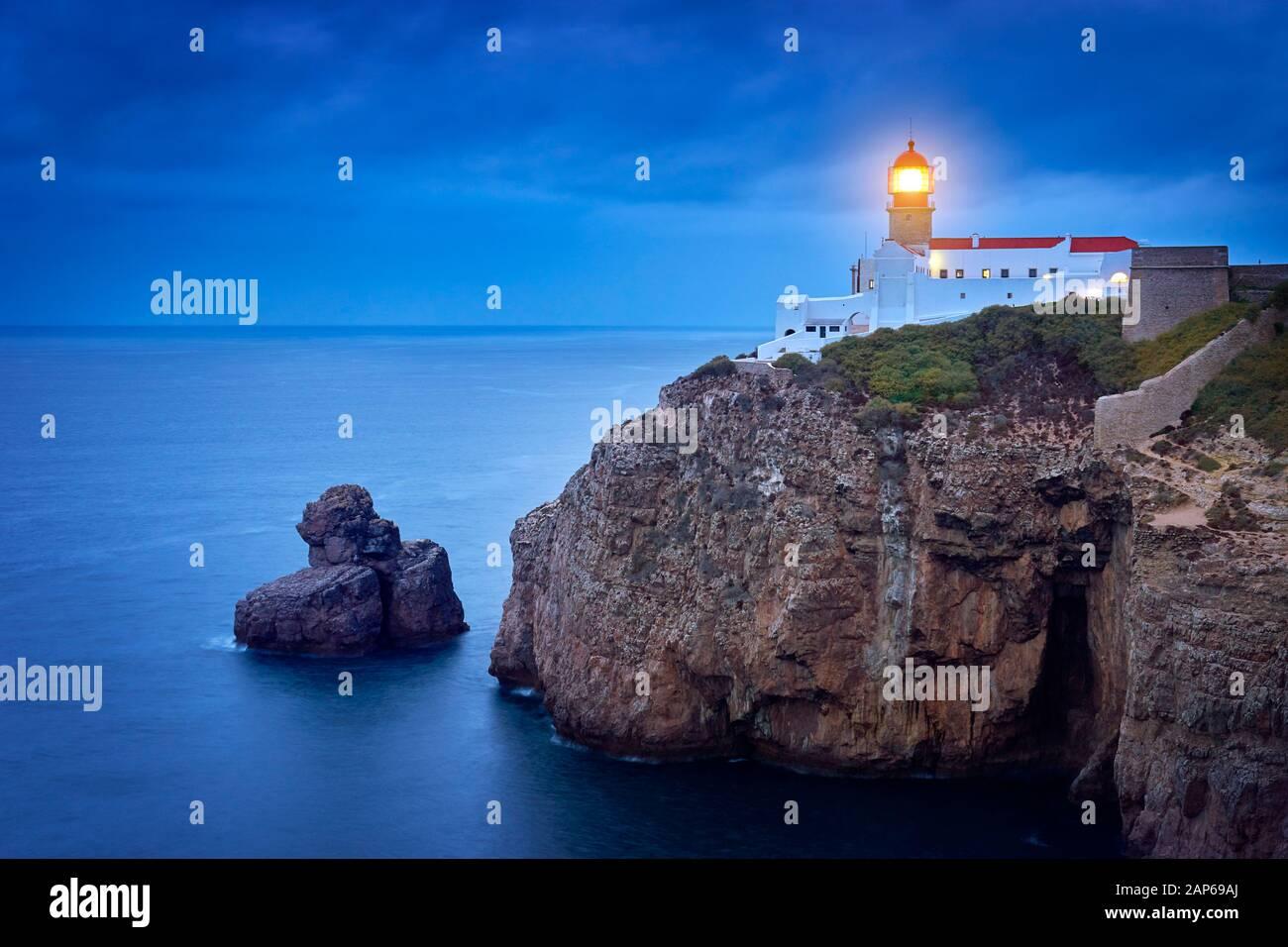 Cabo de Sao Vicente Lighthouse, Sagres, Algarve, Portugal Stock Photo