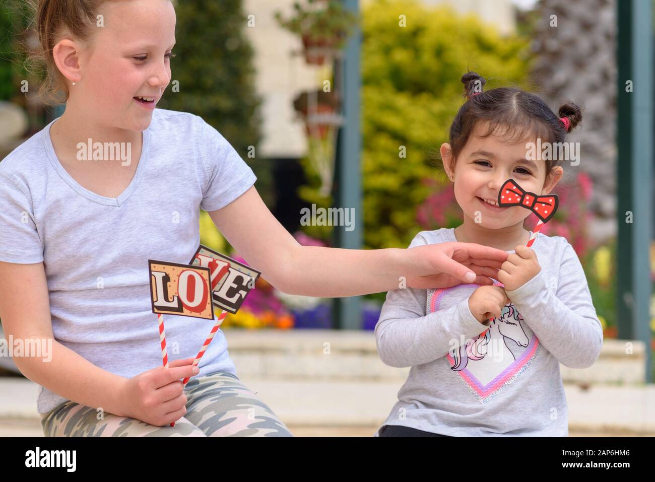 Two Funny Little Girl Having Fun Outdoor Children Have Play With