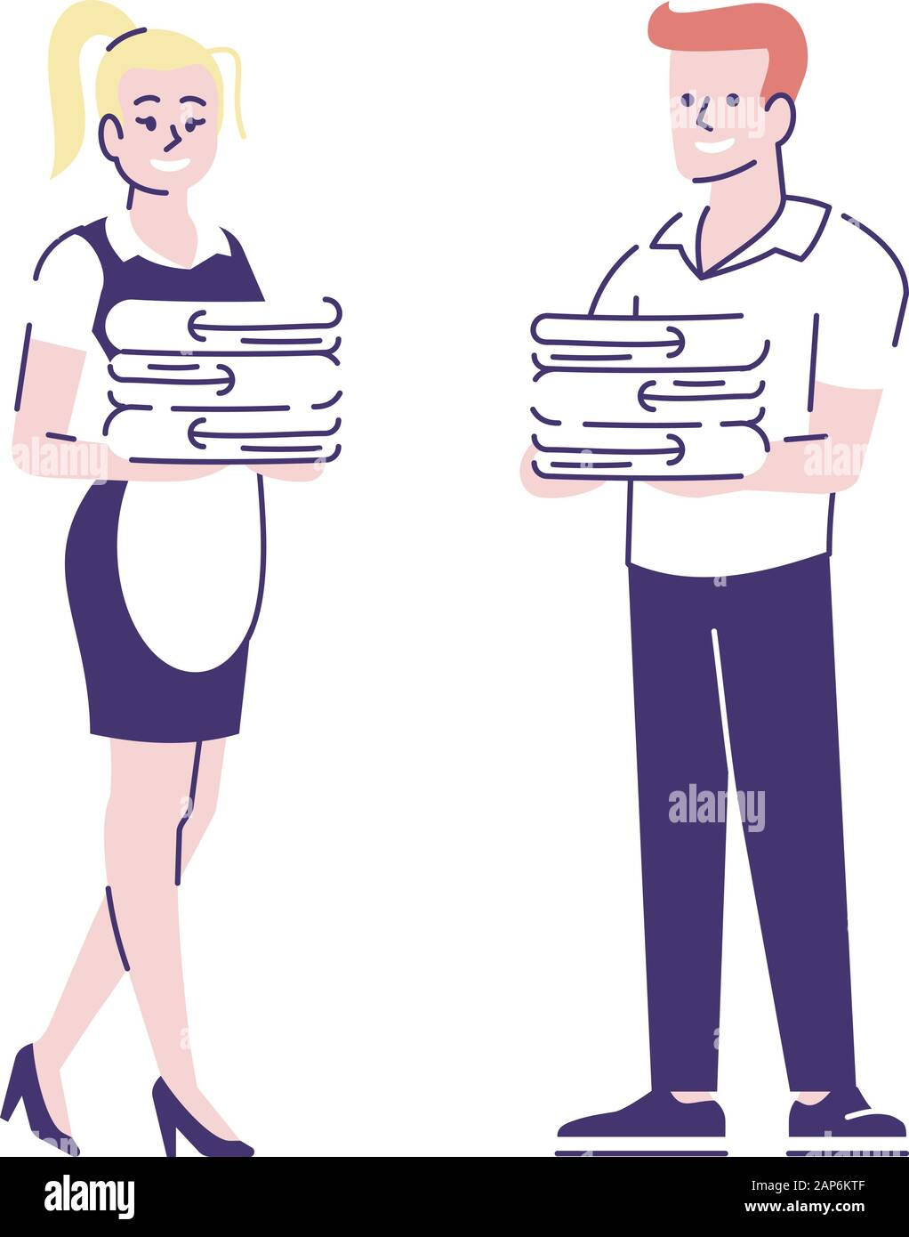 Maid And Butler Flat Vector Characters Professional Housekeepers Housemaid Cartoon Illustration Housework Housekeeping Chores Hotel Cleaning Serv Stock Vector Image Art Alamy