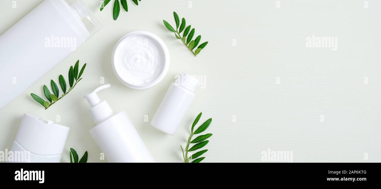 Natural Organic Spa Cosmetic Products Set With Green Leaves Top View Herbal Skincare Beauty Products On Green Background Banner Mockup For Eco Shop Stock Photo Alamy