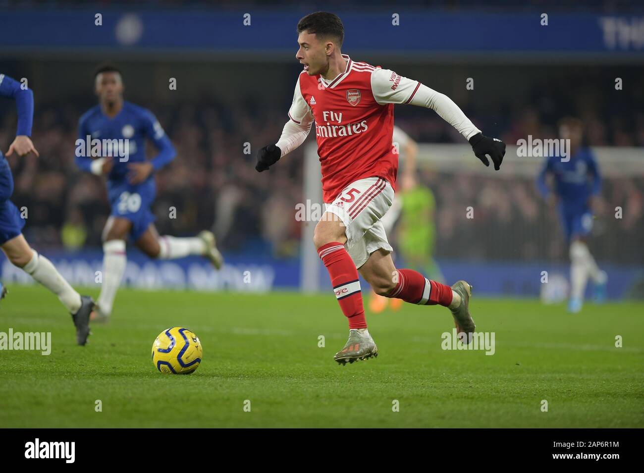 """London, UK. 21st Jan, 2020. Gabriel Martinelli of Arsenal during the Chelsea vs Arsenal Premier League match at Stamford Bridge London 21st November 2020-EDITORIAL USE ONLY No use with unauthorised audio, video, data, fixture lists (outside the EU), club/league logos or """"live"""" services. Online in-match use limited to 45 images ( 15 in extra time). No use to emulate moving images. No use in betting, games or single club/league/player publications/services- Credit: MARTIN DALTON/Alamy Live News Stock Photo"""