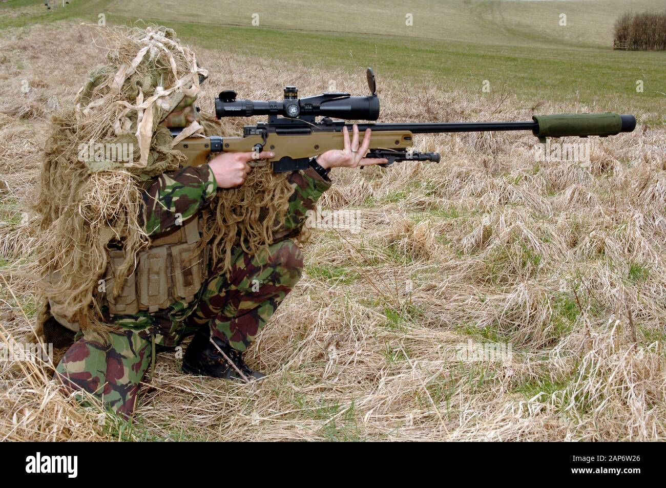 British Infantryman With A Long Range Sniper Rifle L115a3 Which Has A Killing Capability From Over A Mile Stock Photo Alamy