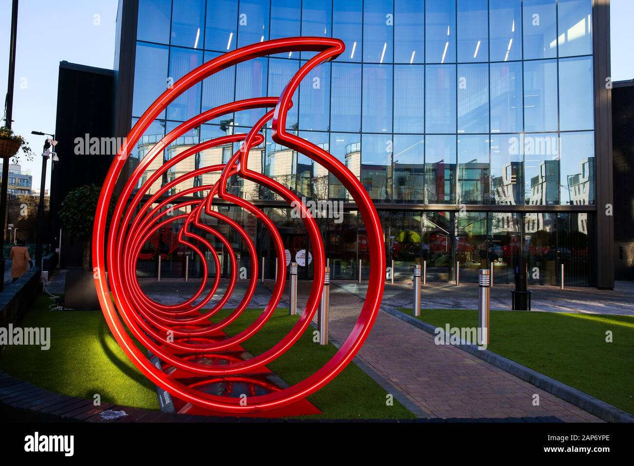 London, UK. 21st Jan, 2020. Vodafone's logo displayed at the front of its office in London, UK. Credit: Dinendra Haria/SOPA Images/ZUMA Wire/Alamy Live News Stock Photo