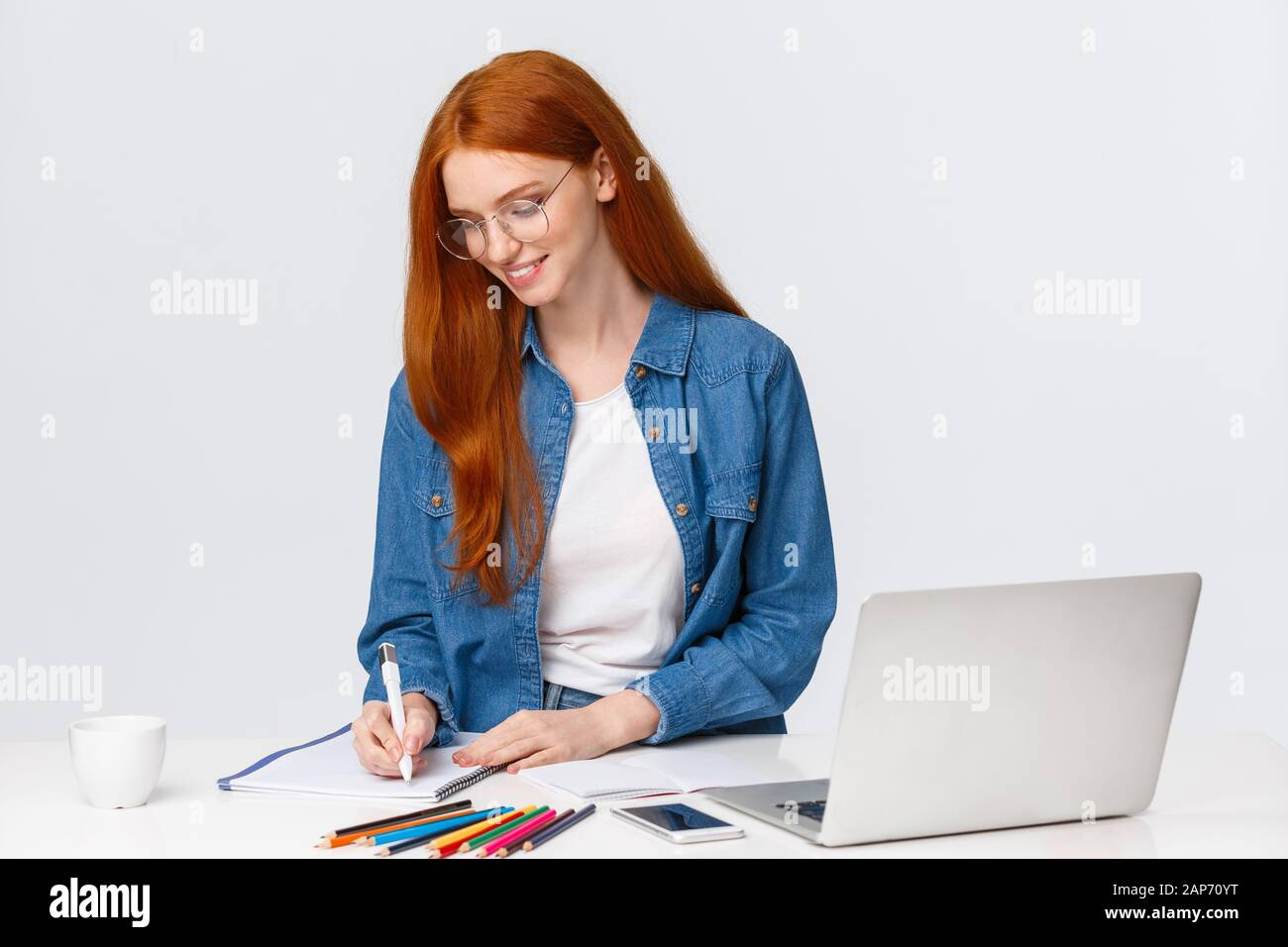 Creative And Talented Cute Girl Dream Become Famous Fashion Designer Create Own Designes And Project Taking Notes As Working Over Tablet With Laptop Stock Photo Alamy