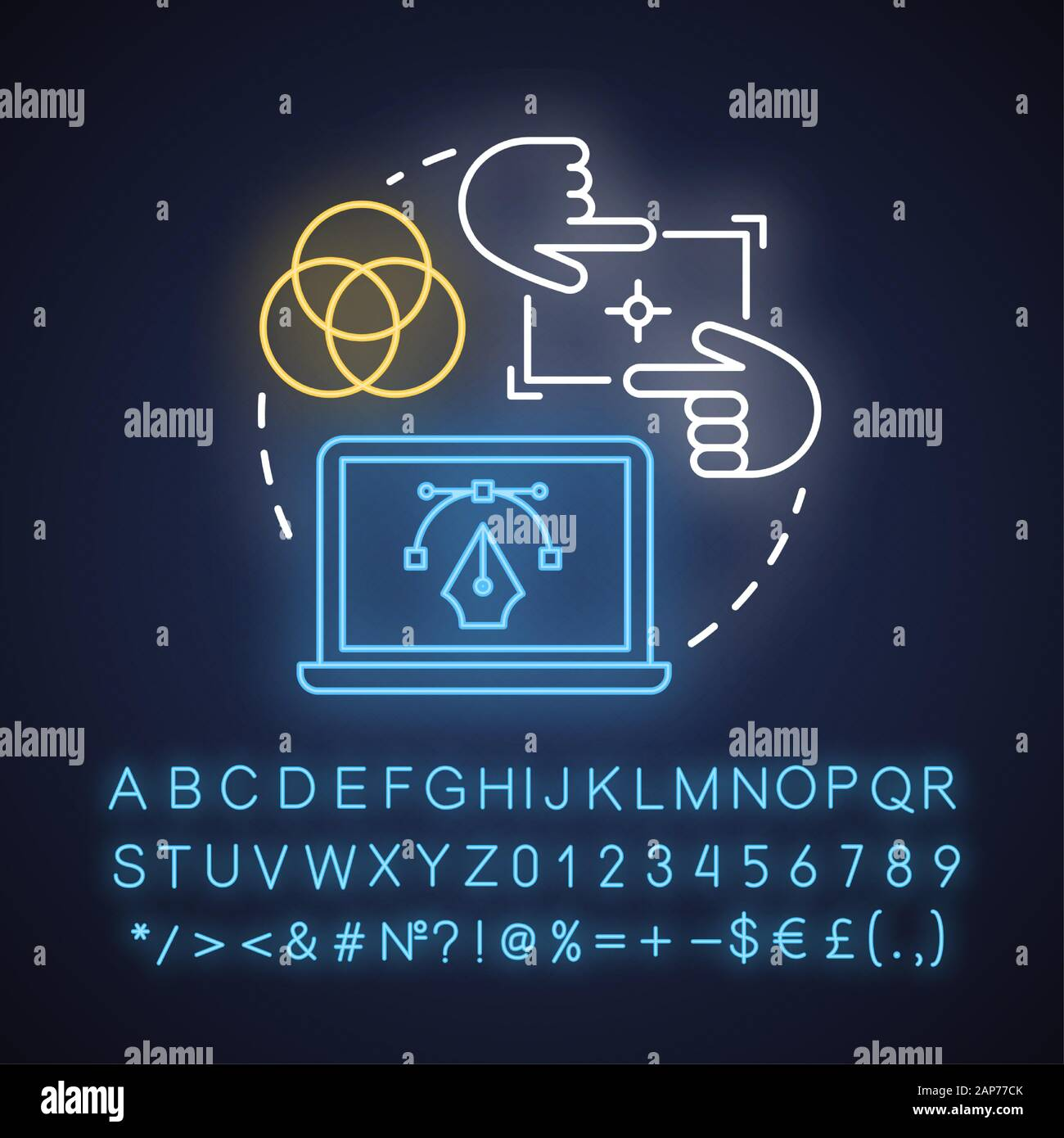 Ui Design Tools Neon Light Concept Icon Software Interface Development Idea Designing Mobile App Visuals Glowing Sign With Alphabet Numbers And Sy Stock Vector Image Art Alamy